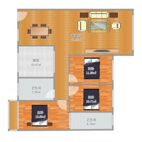 金领家族3室2厅2卫1厨125.00㎡户型图