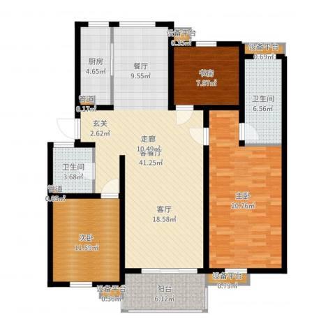 亚厦风和苑3室2厅4卫5厨131.00㎡户型图