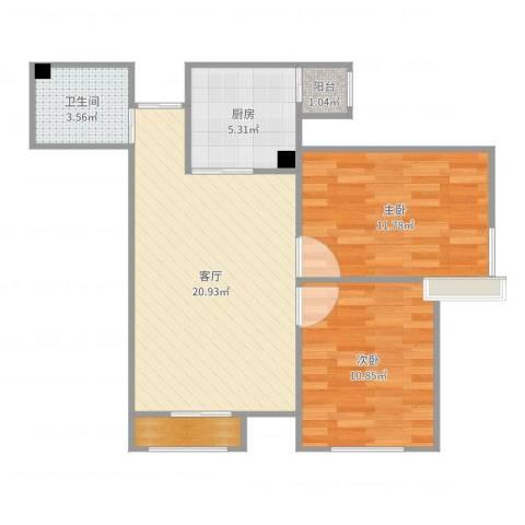 上榀座2室1厅1卫1厨69.00㎡户型图