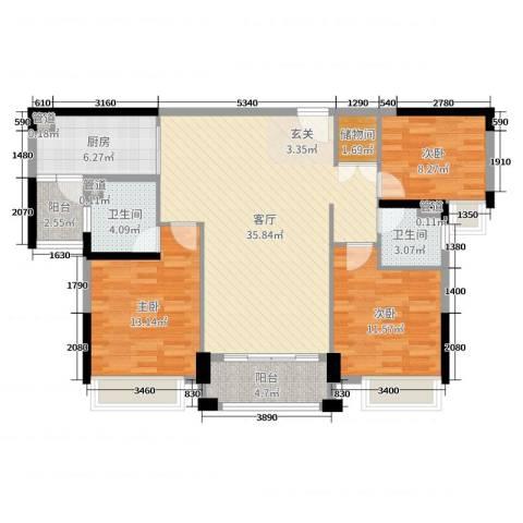 开平中颐海伦堡3室1厅2卫1厨108.00㎡户型图
