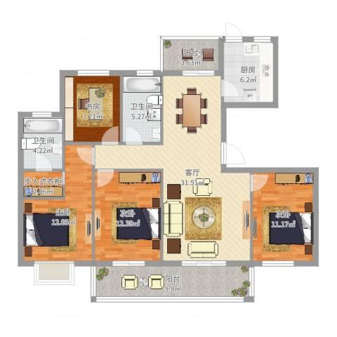常青藤小城4室1厅2卫1厨133.00㎡户型图