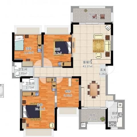信德半岛4室2厅2卫1厨150.00㎡户型图