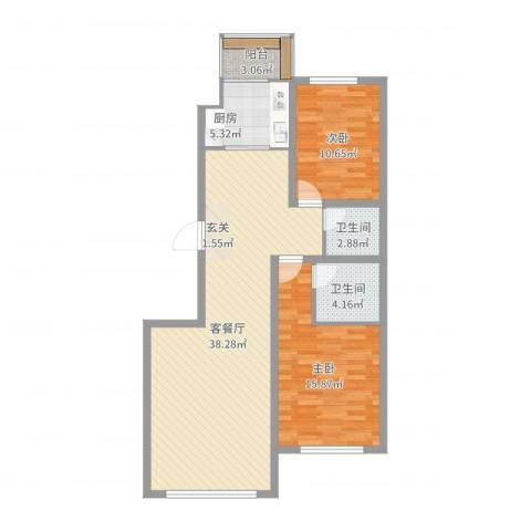 中华巴洛克2室2厅2卫1厨100.00㎡户型图