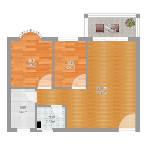 江南雅居2室2厅1卫1厨56.00㎡户型图