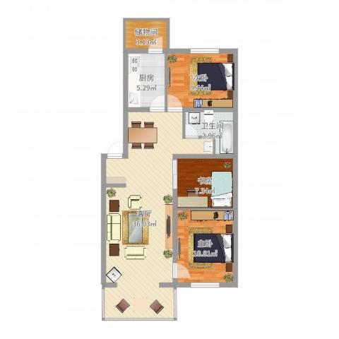 隆西佳苑小区3室1厅1卫1厨96.00㎡户型图