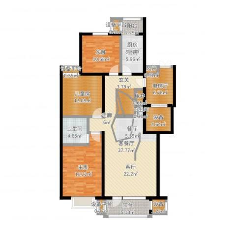 梨花江苑3室2厅2卫1厨140.00㎡户型图
