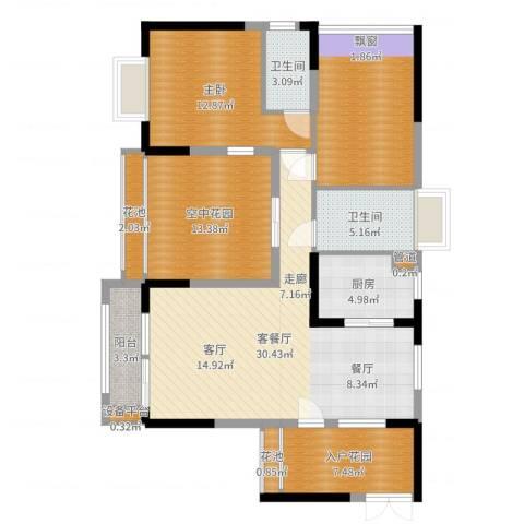 新世纪领居二期1室2厅2卫1厨121.00㎡户型图
