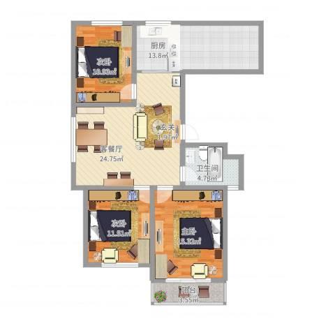 长峰尚海湾3室2厅1卫1厨120.00㎡户型图