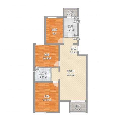 龙锦苑四区3室2厅1卫1厨103.00㎡户型图