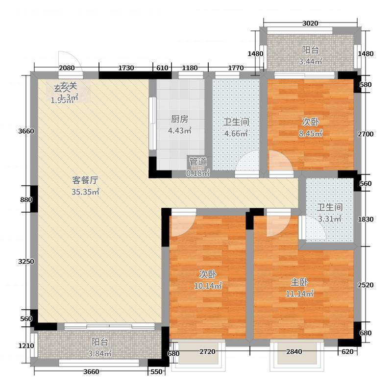 百江御城115.89㎡32、33栋3号户型3室3厅2卫1厨