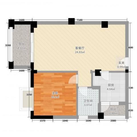 十里蓝山1室2厅1卫1厨60.00㎡户型图