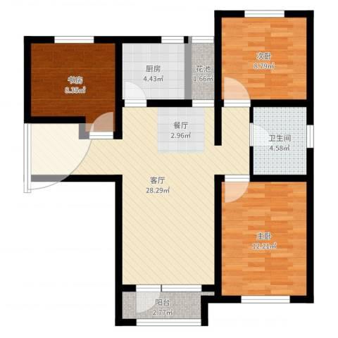 鸿坤・理想湾3室1厅1卫1厨89.00㎡户型图