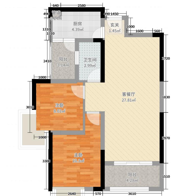 深业睿城127.85㎡二期F03、F06、F07栋322-B1、B2户型3室3厅2卫1厨