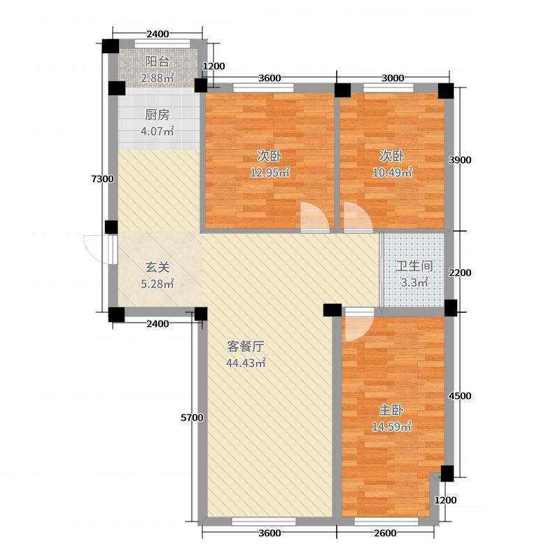 蓝山国际113.15㎡C户型3室3厅1卫1厨