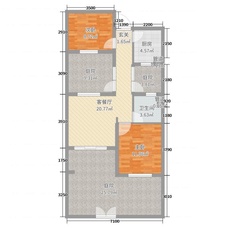 中南芭提雅63.00㎡院墅A1-1F户型2室2厅1卫1厨