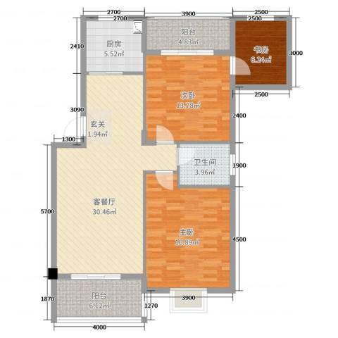 凤华名邸3室2厅1卫1厨92.00㎡户型图