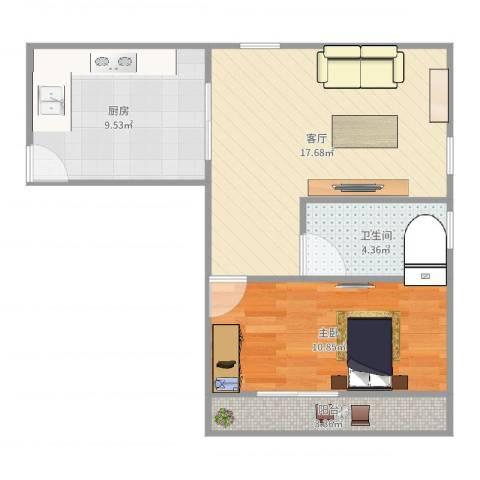 上钢一村1室1厅1卫1厨57.00㎡户型图