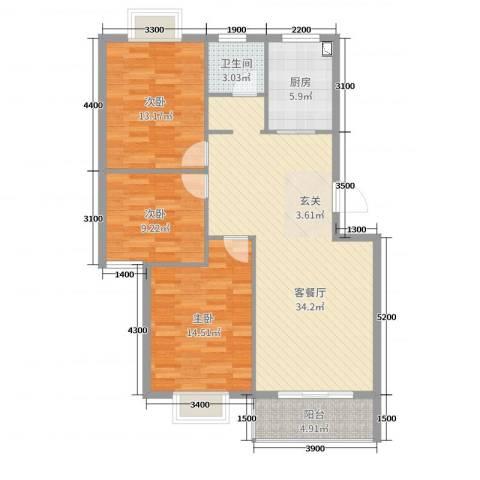 凤华名邸3室2厅1卫1厨108.00㎡户型图