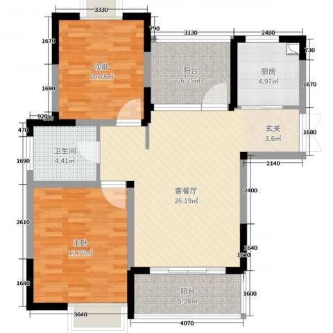 惠泽云锦城2室2厅1卫1厨89.00㎡户型图