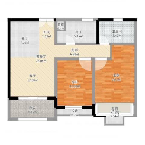 绿地波士顿公馆2室2厅1卫1厨94.00㎡户型图