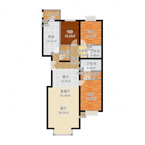 水上华城3室2厅2卫1厨187.00㎡户型图