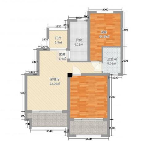 星河蓝湾1室2厅1卫1厨86.00㎡户型图