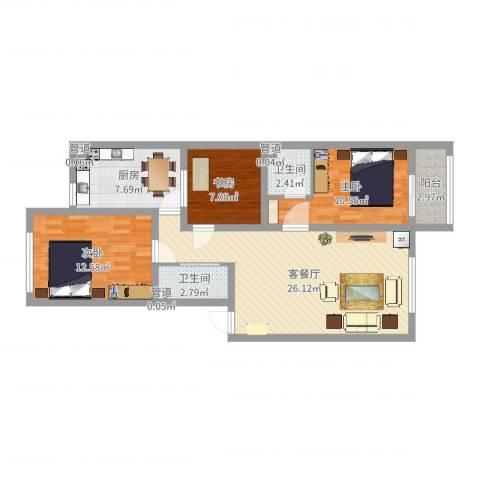 龙城御苑3室2厅2卫1厨72.32㎡户型图