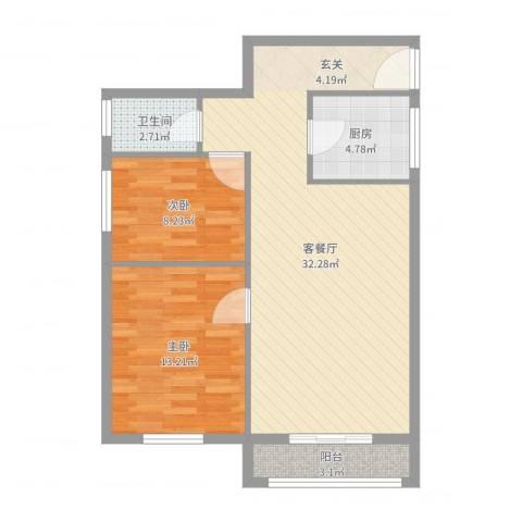 南湖东园一区2室2厅1卫1厨80.00㎡户型图
