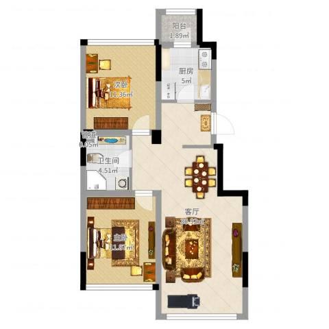 巴黎左岸2室1厅1卫1厨82.00㎡户型图