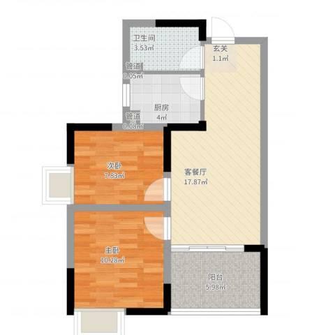 瑞泽源一里洋房2室2厅1卫1厨72.00㎡户型图