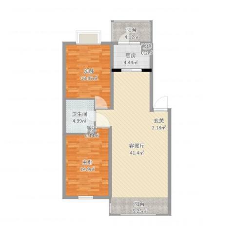 世纪花园2室2厅1卫1厨105.00㎡户型图