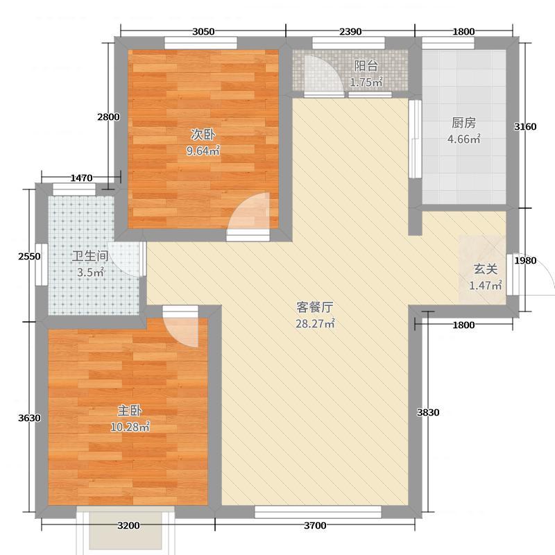 欧尚广场85.00㎡B10号楼F户型2室2厅1卫1厨