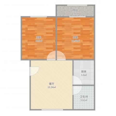 平阳三村2室1厅1卫1厨61.00㎡户型图