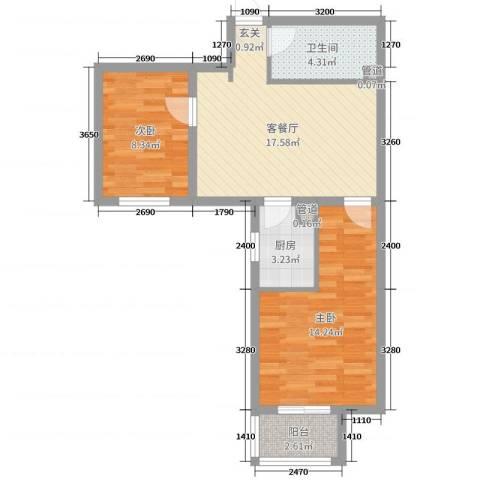 首开国风润城2室2厅1卫1厨78.00㎡户型图