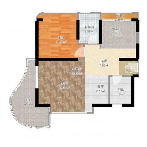 三亚・一山湖1室2厅1卫1厨93.00㎡户型图