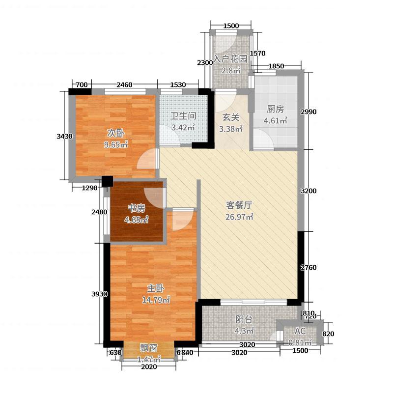 永鸿商业广场90.00㎡6#楼D2户型3室3厅1卫1厨