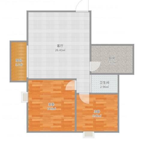 万丰花园2室1厅1卫1厨80.00㎡户型图