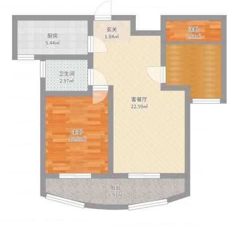 金色水岸2室2厅1卫1厨72.00㎡户型图