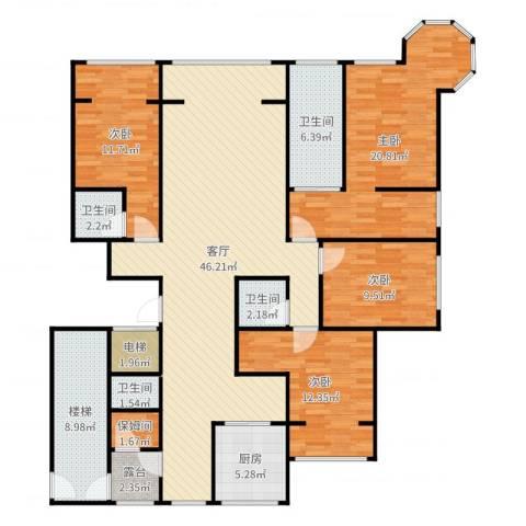 融侨城2804室3厅5卫1厨166.00㎡户型图