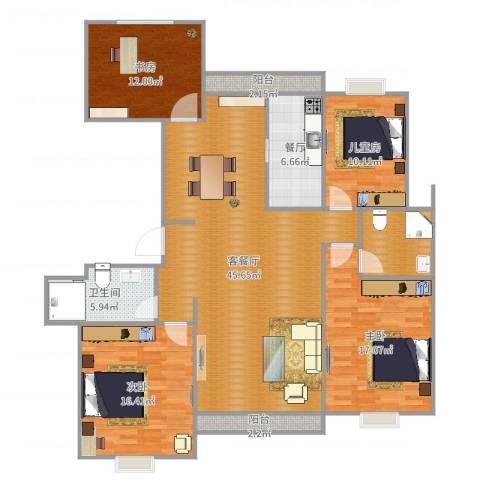 时代豪庭4室3厅1卫1厨154.00㎡户型图