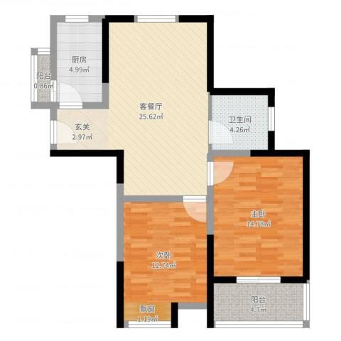 神州河畔景苑2室2厅1卫1厨85.00㎡户型图