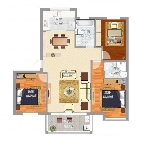 西湖花园3室1厅2卫1厨108.00㎡户型图