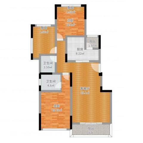 金科公园王府2室2厅2卫1厨124.00㎡户型图