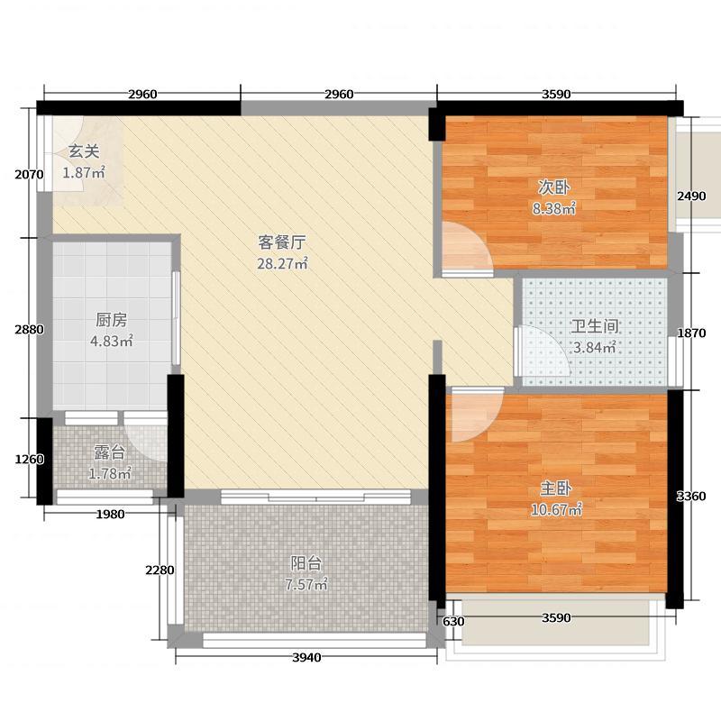 新世界倚山花园・溱澜85.00㎡A4户型2室2厅1卫1厨