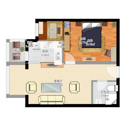 成远大厦1室2厅1卫1厨62.00㎡户型图