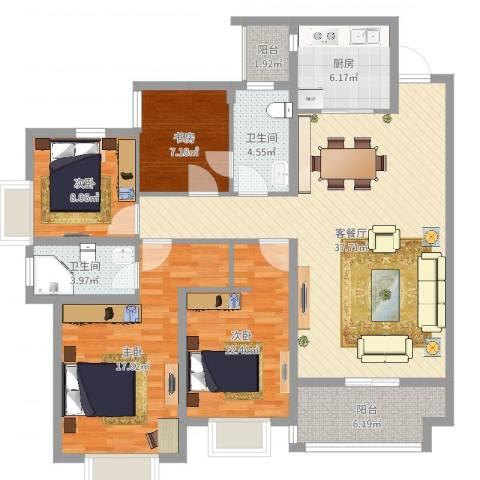 世通和府4室2厅2卫1厨132.00㎡户型图
