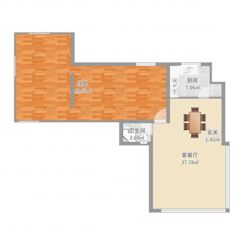 白金汉府1室2厅1卫1厨121.00㎡户型图