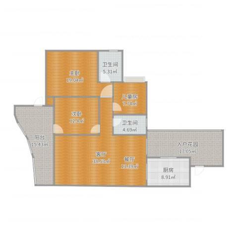 天高鸿苑3室1厅2卫1厨162.00㎡户型图
