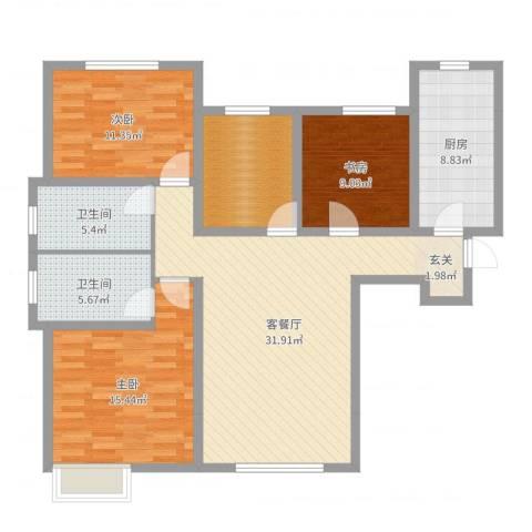 鸿坤·理想湾3室2厅2卫1厨119.00㎡户型图