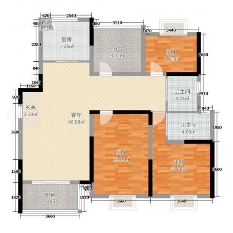 中奥珑郡3室1厅2卫1厨139.00㎡户型图